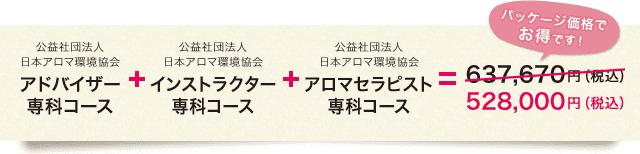 アドバイザー専科コース+インストラクター専科コース+アロマセラピスト専科コース=¥528,000(税込)